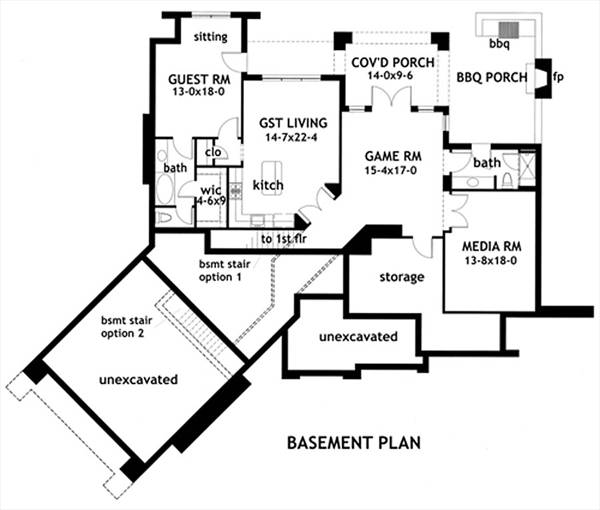 Basement Plan image of Featured House Plan: BHG - 1895