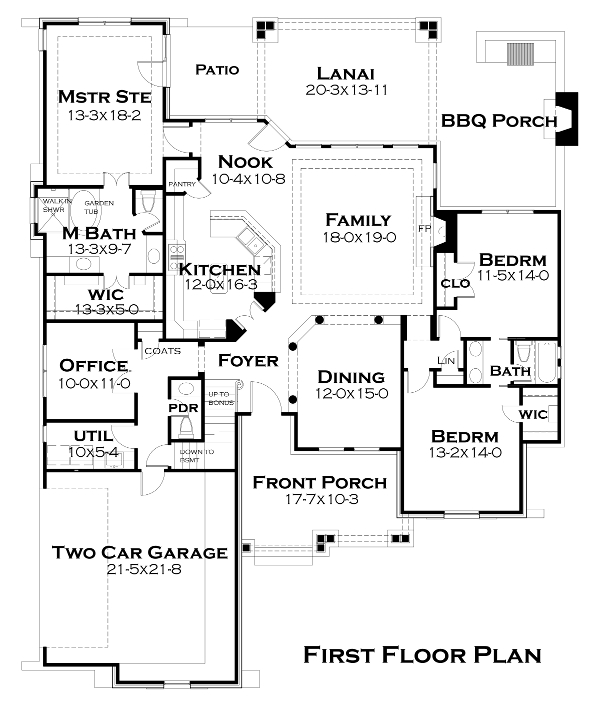 First Floor Plan image of Featured House Plan: BHG - 4514