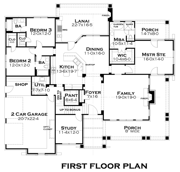 First Floor Plan image of Featured House Plan: BHG - 4838
