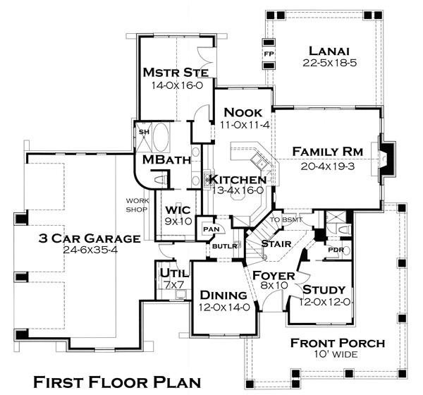 First Floor Plan image of Featured House Plan: BHG - 4503