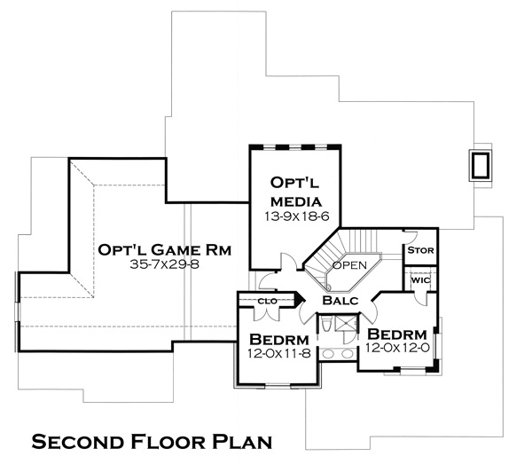Second Floor Plan image of Featured House Plan: BHG - 4503