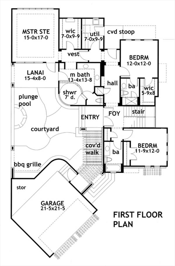 First Floor Plan image of Featured House Plan: BHG - 2082