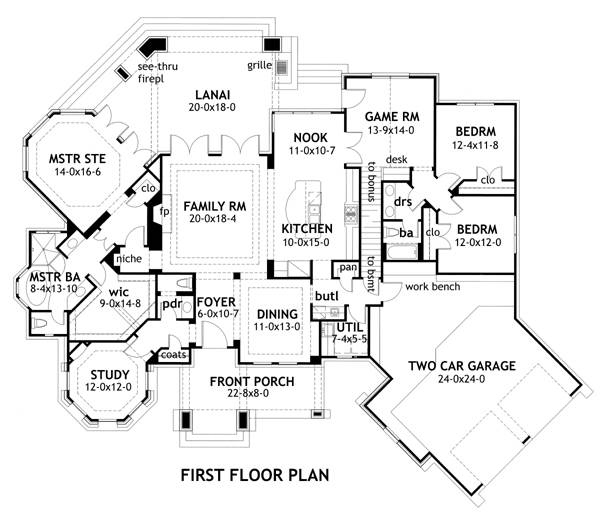 First Floor Plan image of Featured House Plan: BHG - 2256