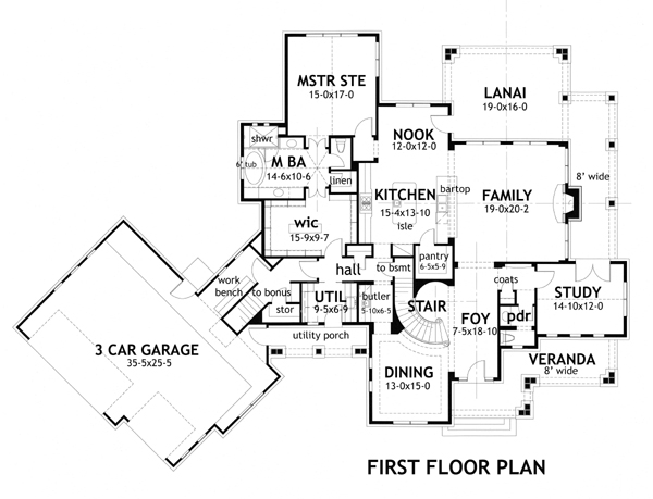 First Floor Plan image of Featured House Plan: BHG - 3151