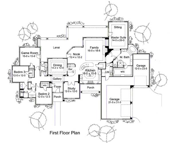 First Floor Plan image of Featured House Plan: BHG - 5818