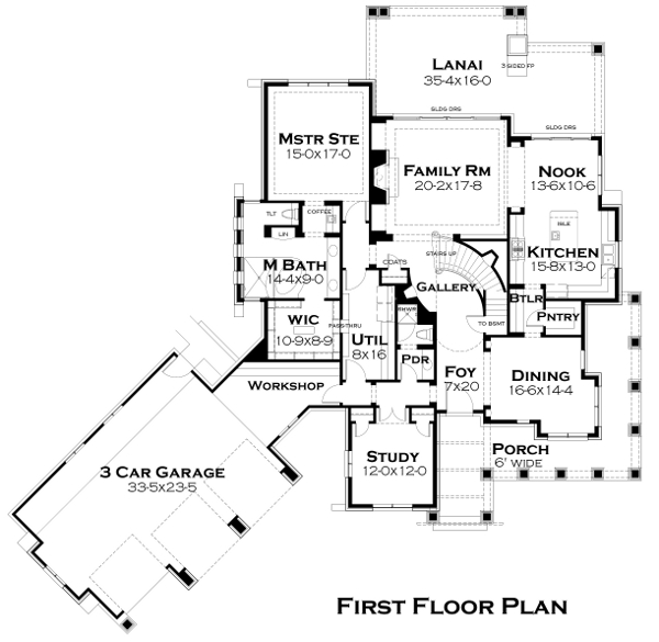First Floor Plan image of Featured House Plan: BHG - 4440