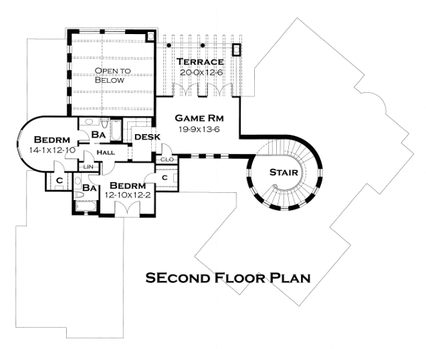 Second Floor Plan image of Featured House Plan: BHG - 4442
