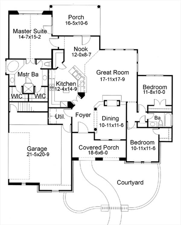 First Floor Plan image of Featured House Plan: BHG - 6755