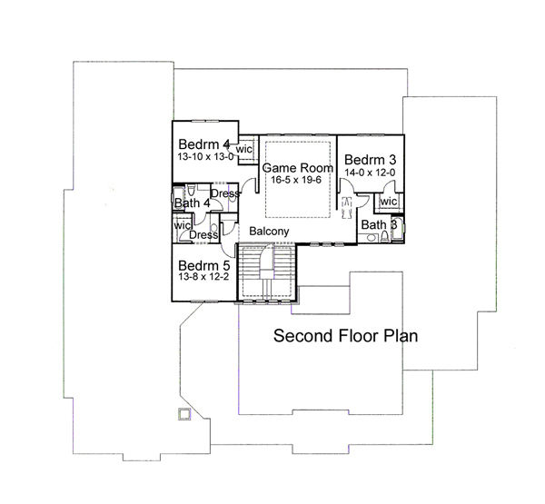 Second Floor Plan image of Featured House Plan: BHG - 5982