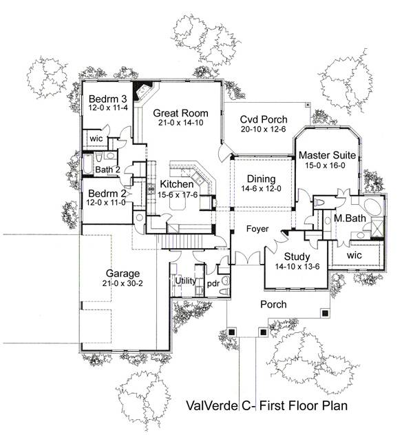 First Floor Plan image of Featured House Plan: BHG - 5814