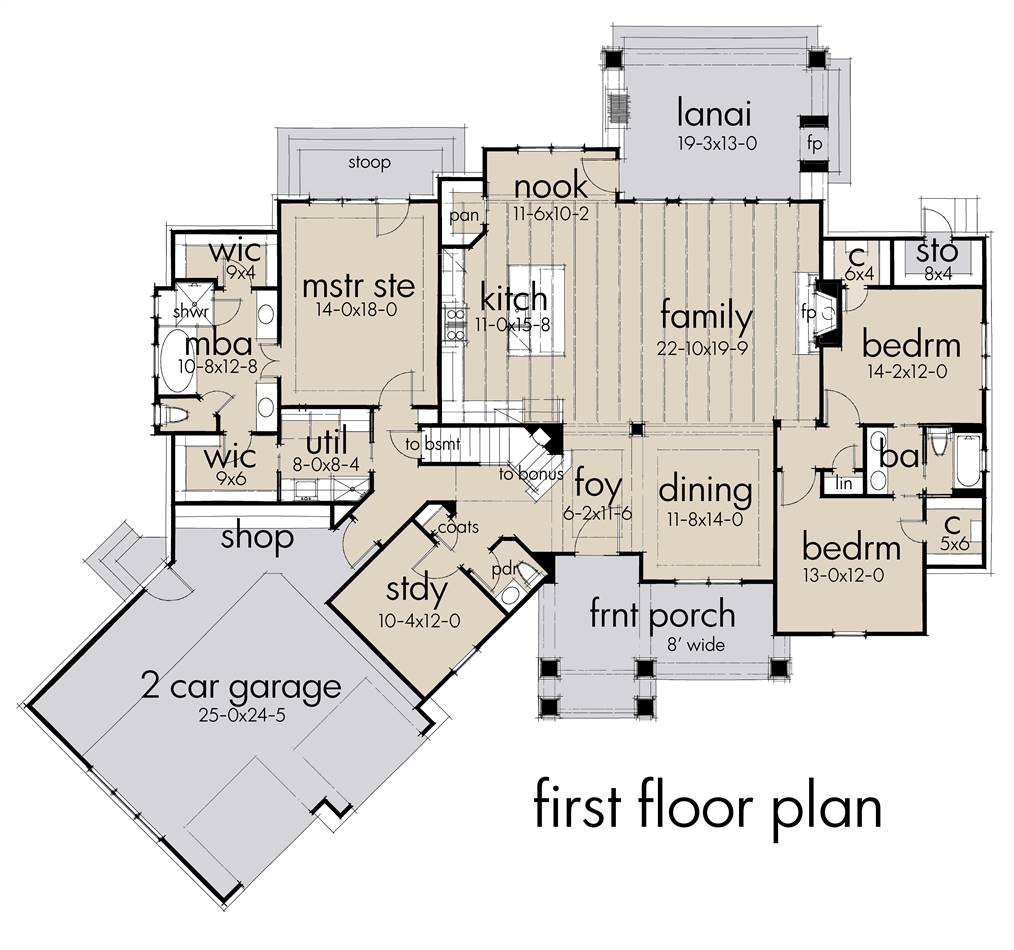 First Floor Plan image of Featured House Plan: BHG - 4456