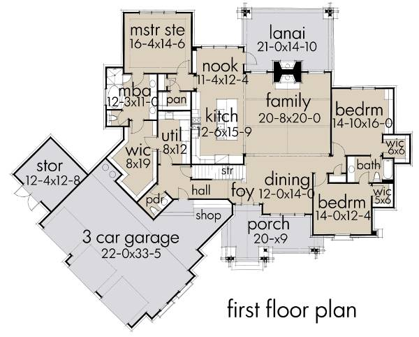 First Floor Plan image of Featured House Plan: BHG - 2194