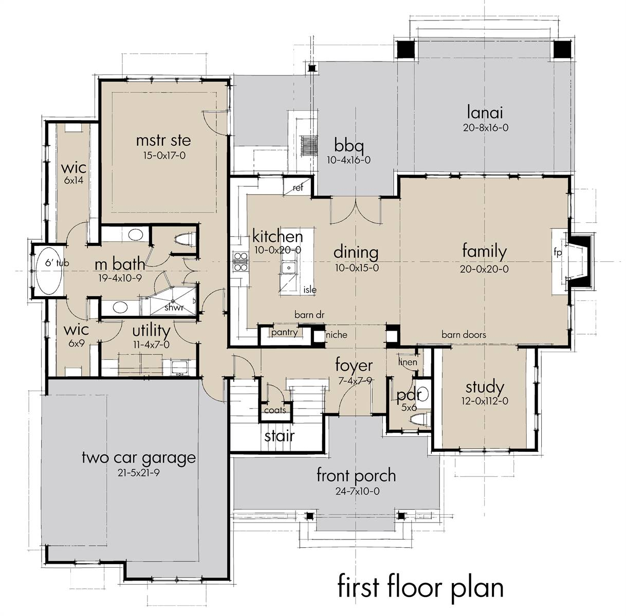 First Floor Plan image of Featured House Plan: BHG - 7198