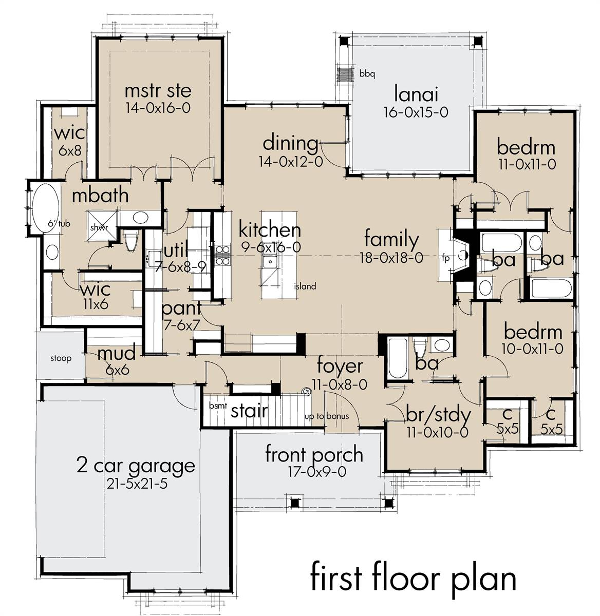 First Floor Plan image of Featured House Plan: BHG - 7218