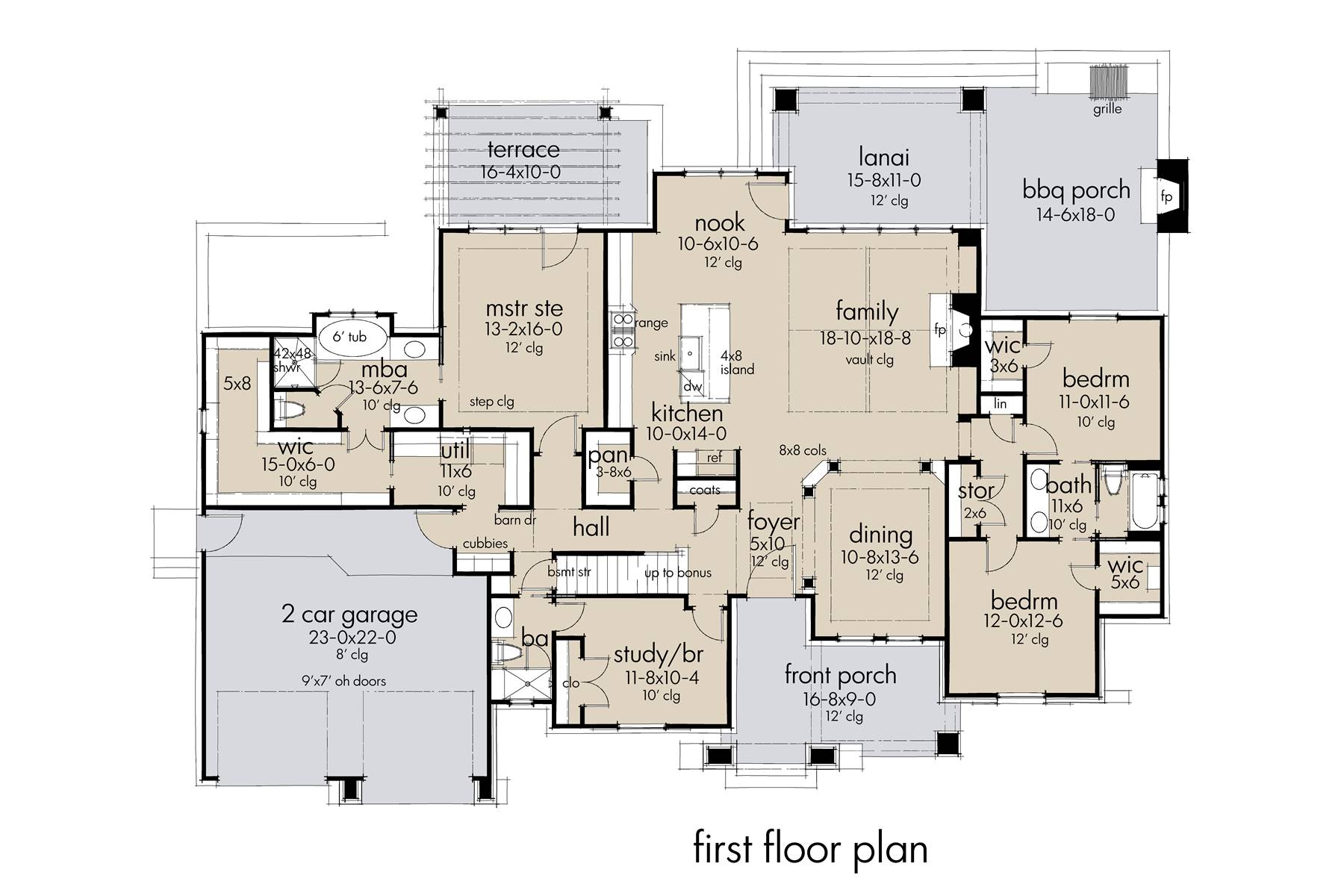 First Floor Plan image of Featured House Plan: BHG - 7440