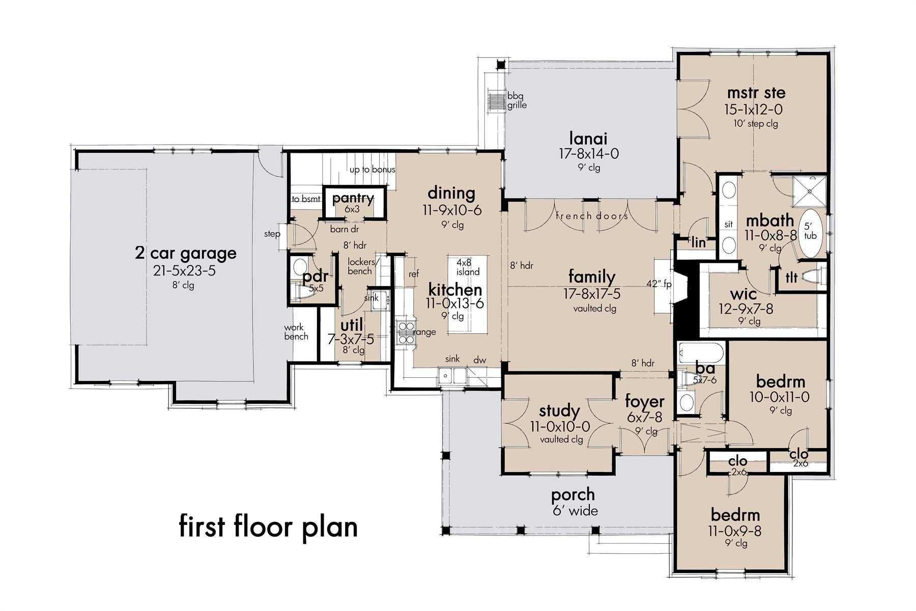1st Floor Plan image of Featured House Plan: BHG - 8343