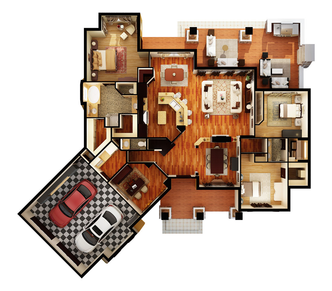 First Floor Plan (3d) image of Featured House Plan: BHG - 1895