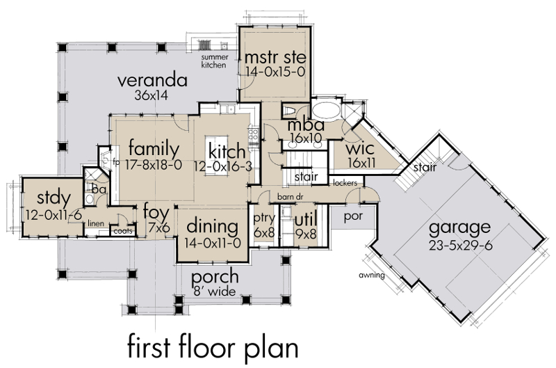 First Floor Plan image of Featured House Plan: BHG - 2044