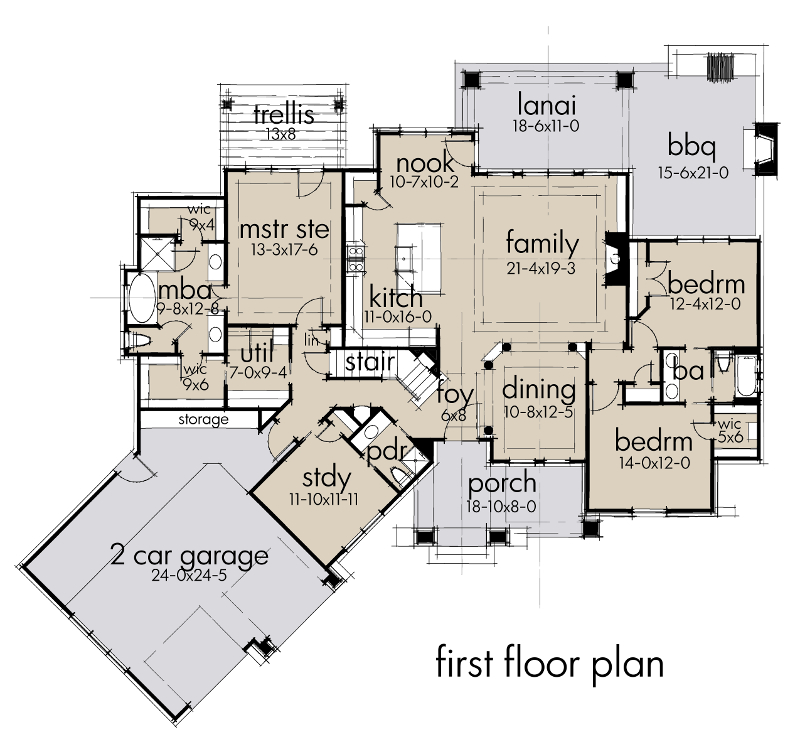 First Floor Plan image of Featured House Plan: BHG - 2047