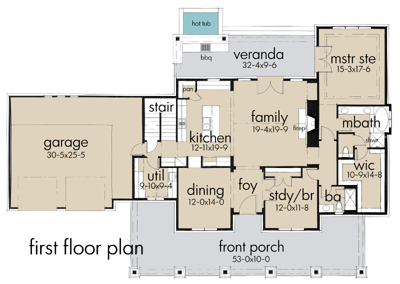 First Floor Plan image of Featured House Plan: BHG - 5521