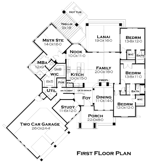 First Floor Plan image of Reconnaissante 4 Bedroom Spacious Craftsman Style House Plan 5252