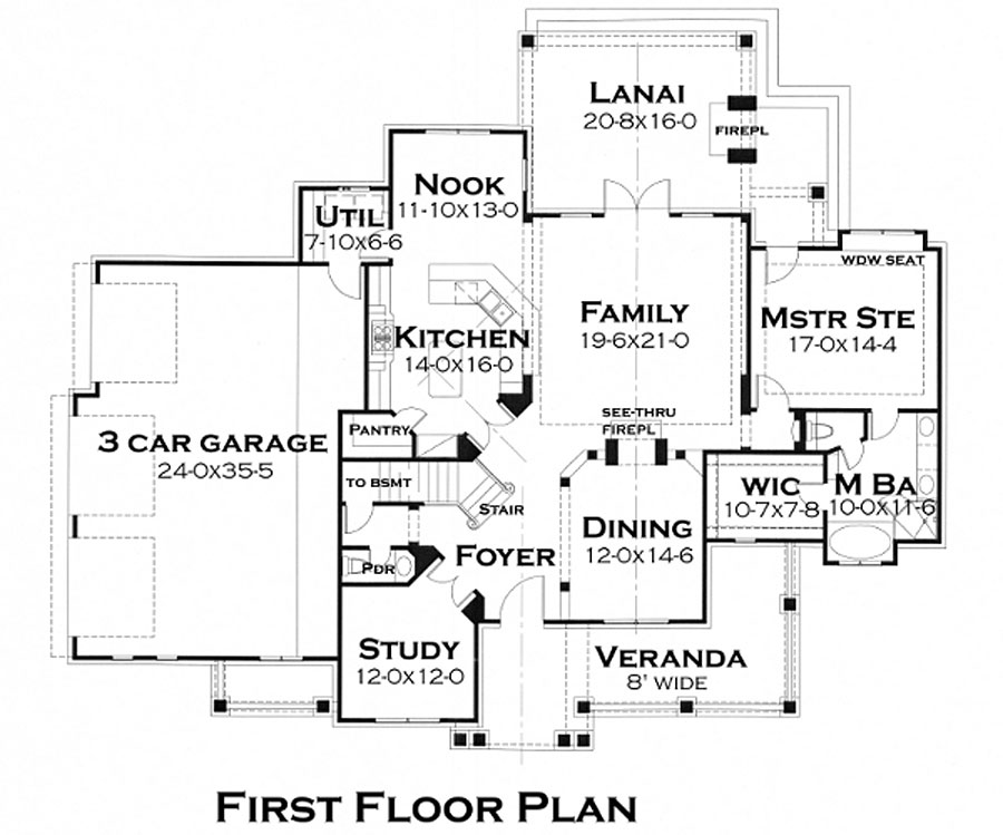 First Floor Plan image of Featured House Plan: BHG - 5219