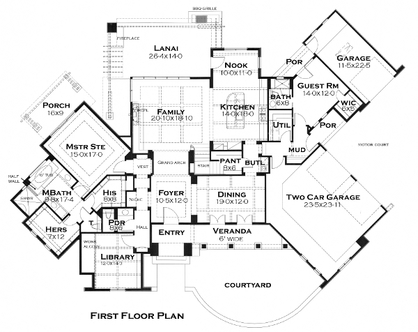 First Floor Plan image of Featured House Plan: BHG - 5284