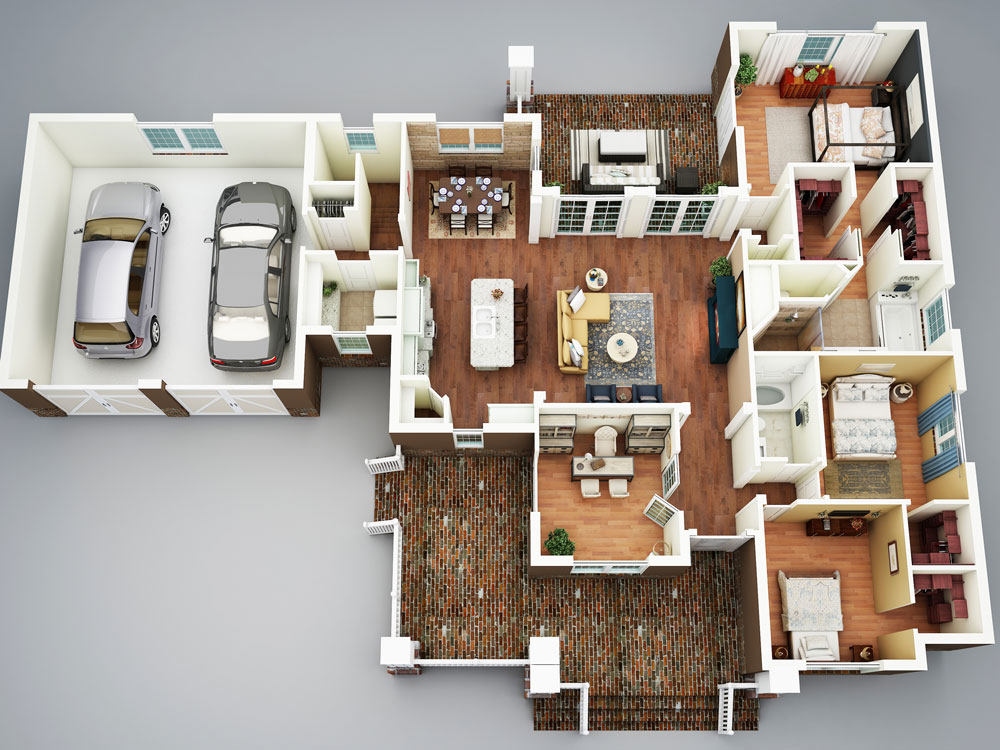 3D Rendering image of Featured House Plan: BHG - 5517