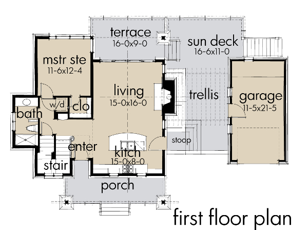 First Floor Plan image of Featured House Plan: BHG - 9040