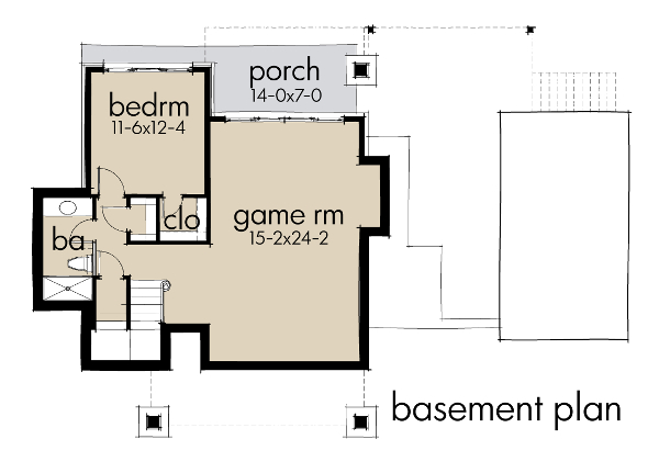 Lower Level Plan image of Featured House Plan: BHG - 9040