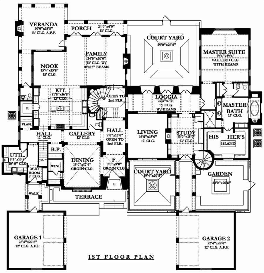 1st Floor Plan image of Featured House Plan: BHG - 9725