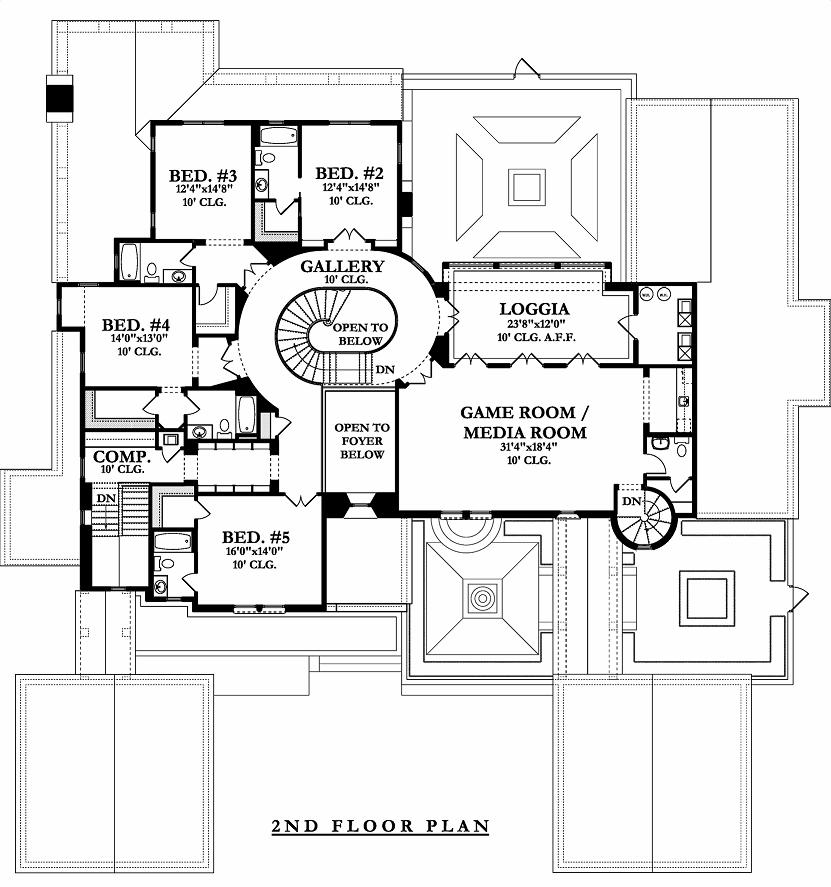 2nd Floor Plan image of Featured House Plan: BHG - 9725