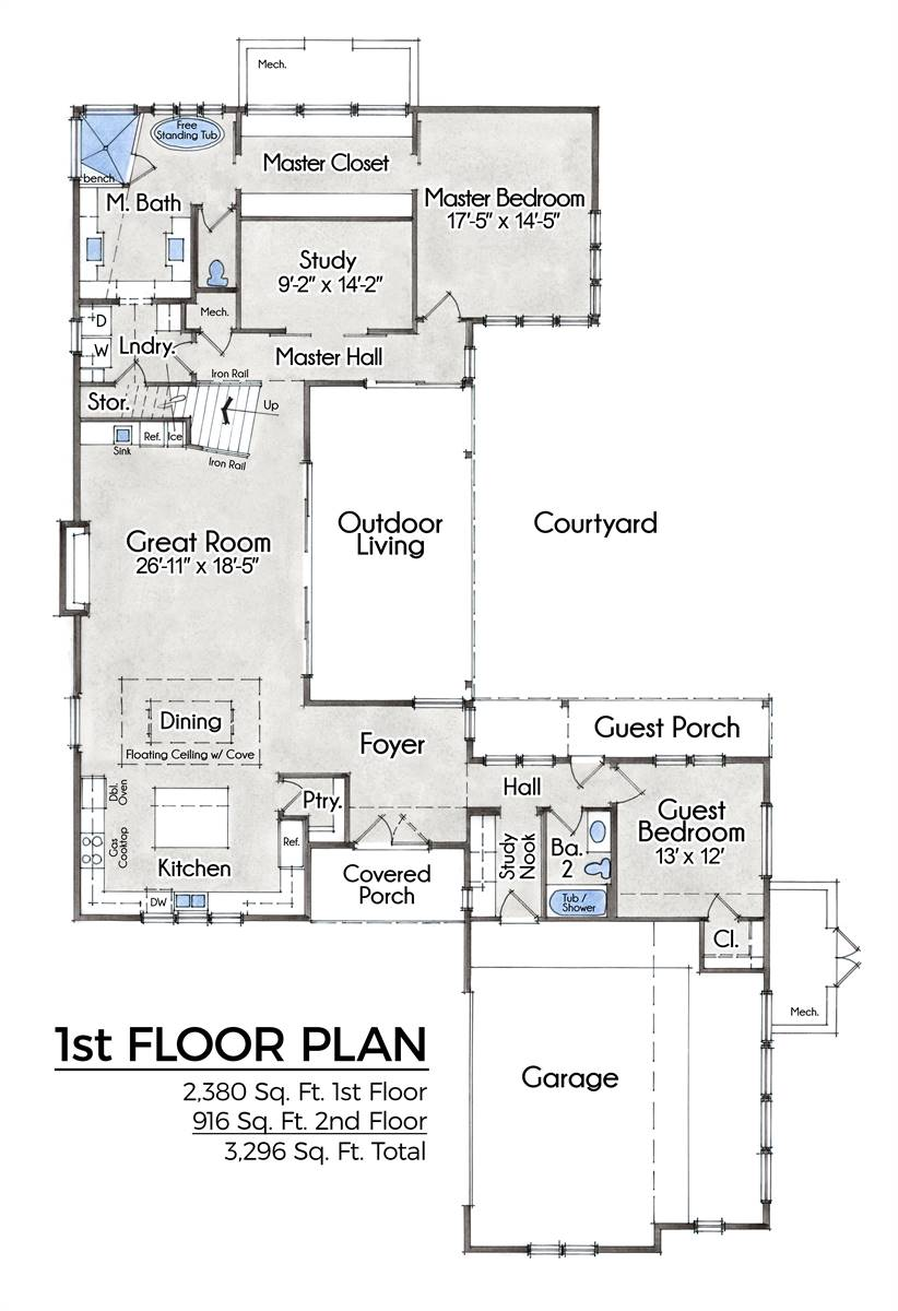1st Floor image of Featured House Plan: BHG - 9091