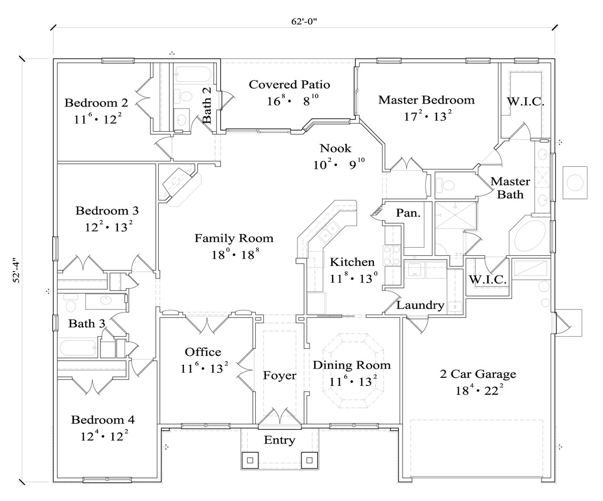First Floor Plan image of Featured House Plan: BHG - 4430