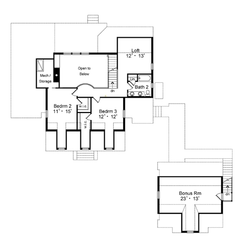 Second Floor Plan image of Featured House Plan: BHG - 3146