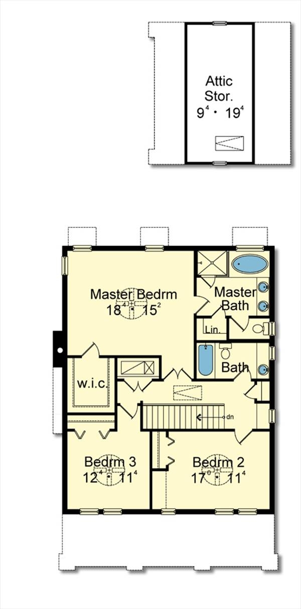 Second Floor Plan image of Featured House Plan: BHG - 3084