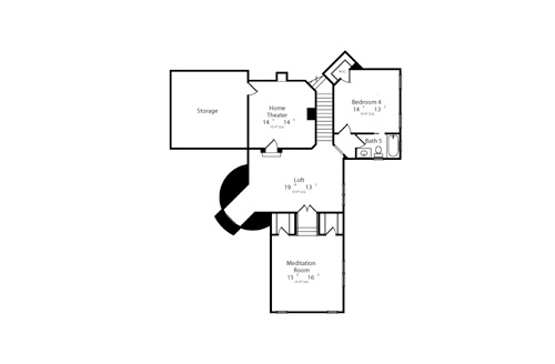 Second Floor Plan image of Featured House Plan: BHG - 6513