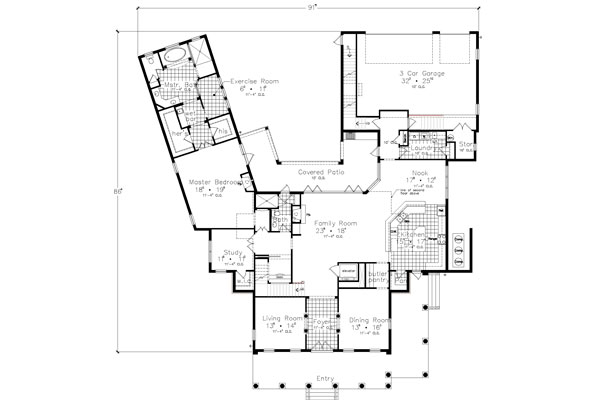 First Floor Plan image of Featured House Plan: BHG - 4449