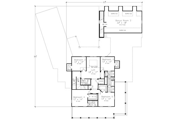 Second Floor Plan image of Featured House Plan: BHG - 4449