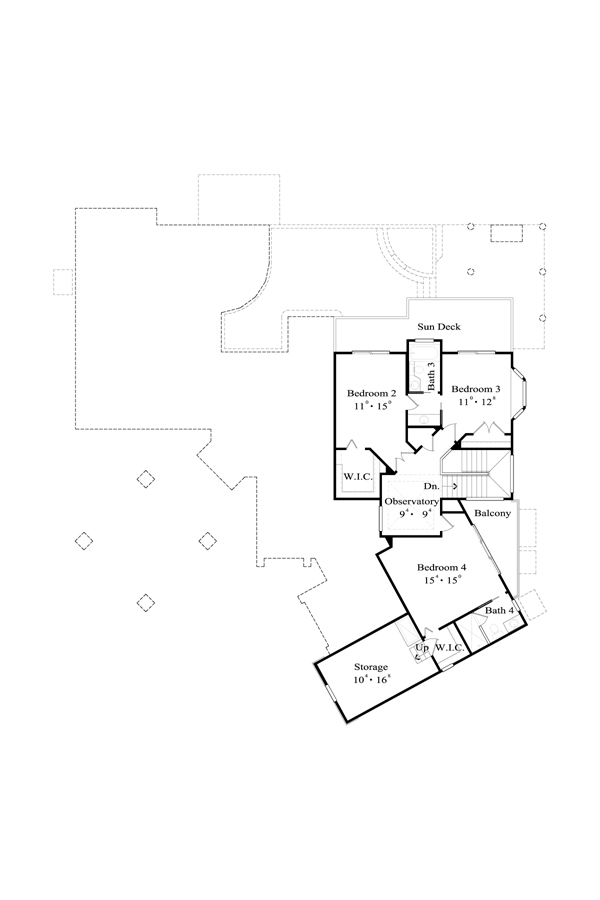 Second Floor Plan image of Featured House Plan: BHG - 4453