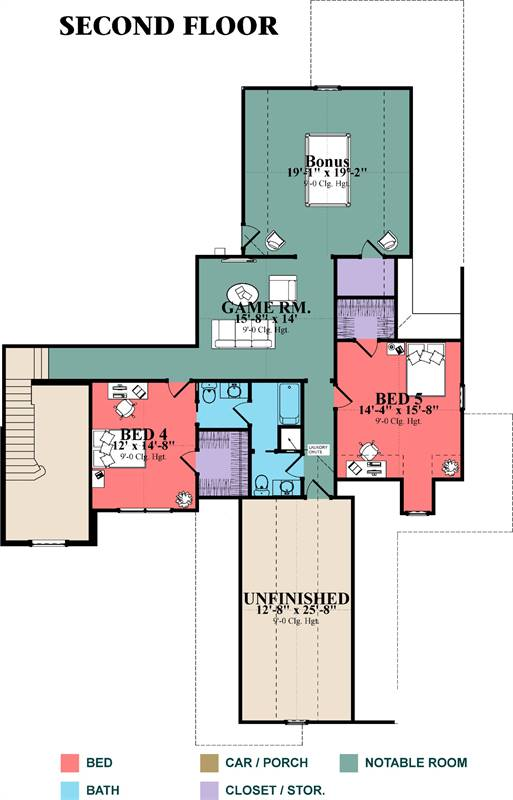 2nd Floor Plan image of Featured House Plan: BHG - 1970