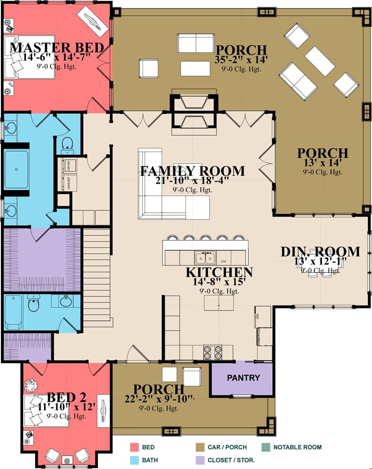1st Floor Plan image of Featured House Plan: BHG - 2051