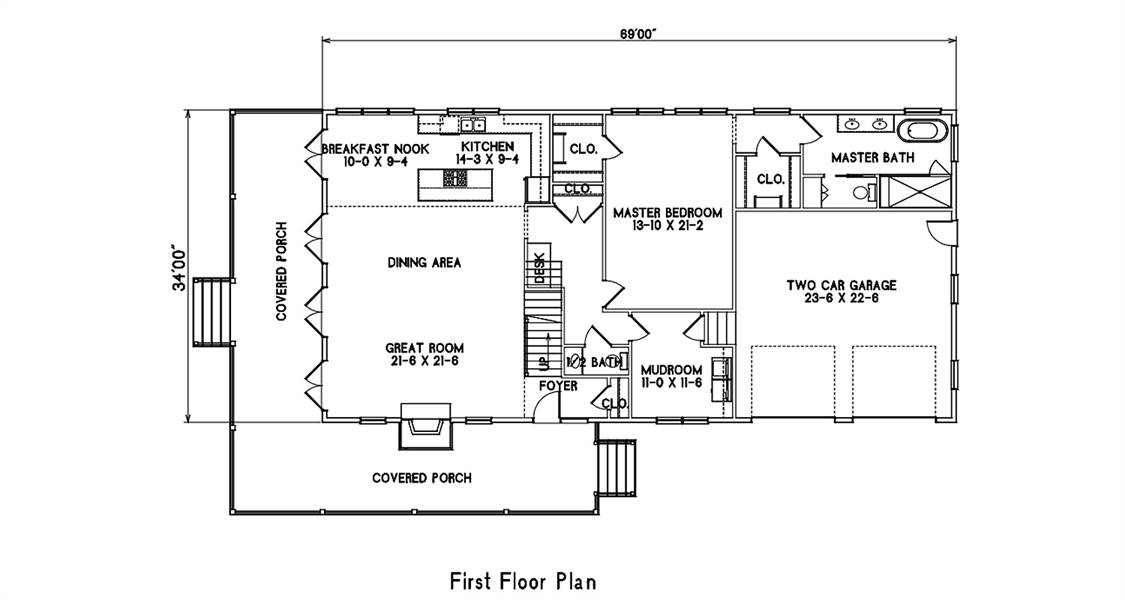 1st Floor Plan image of Featured House Plan: BHG - 7373
