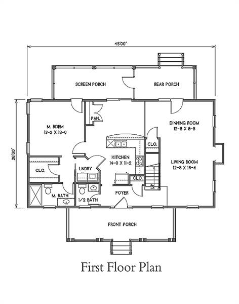 1st Floor Plan image of Featured House Plan: BHG - 7374