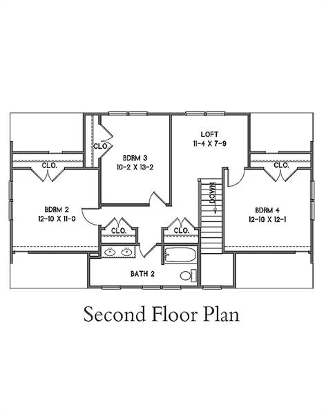 2nd Floor Plan image of Featured House Plan: BHG - 7374