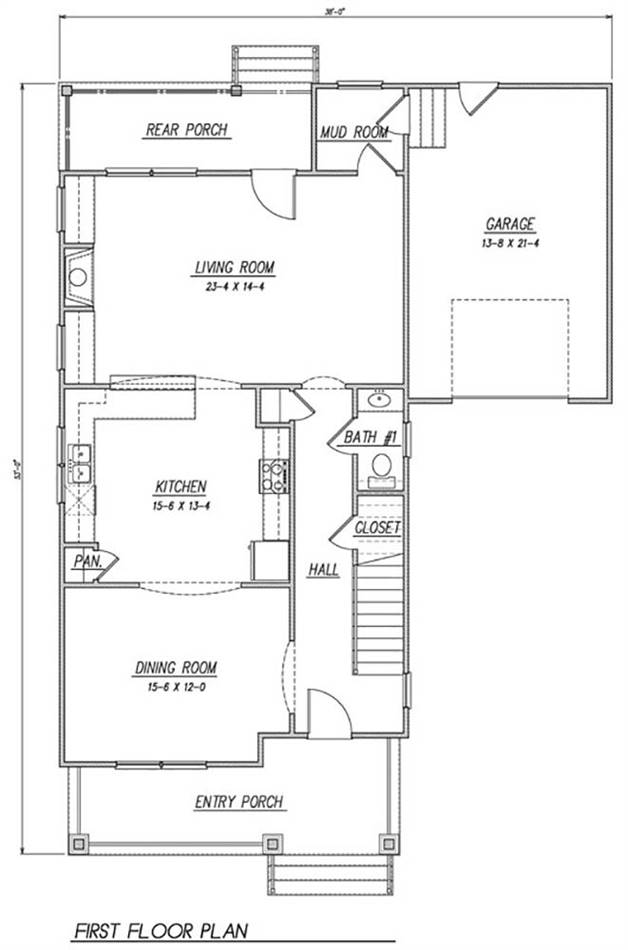 1st Floor Plan image of Featured House Plan: BHG - 1990