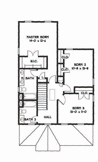 2nd Floor Plan image of Featured House Plan: BHG - 9308