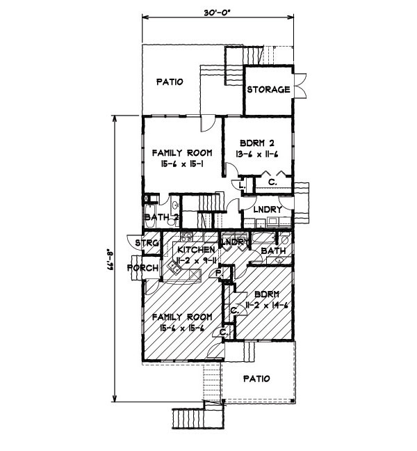 1st Floor Plan image of Featured House Plan: BHG - 9152