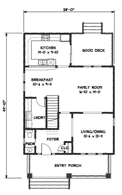 1st Floor Plan image of Featured House Plan: BHG - 9307