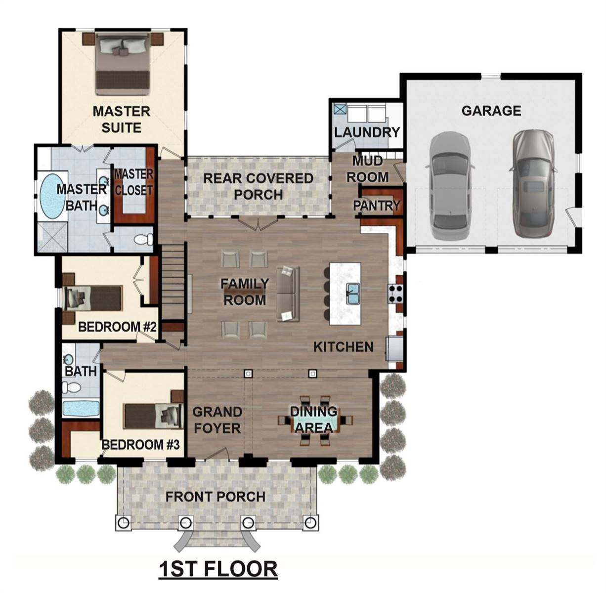 1st Floor 3D Model image of Featured House Plan: BHG - 6899